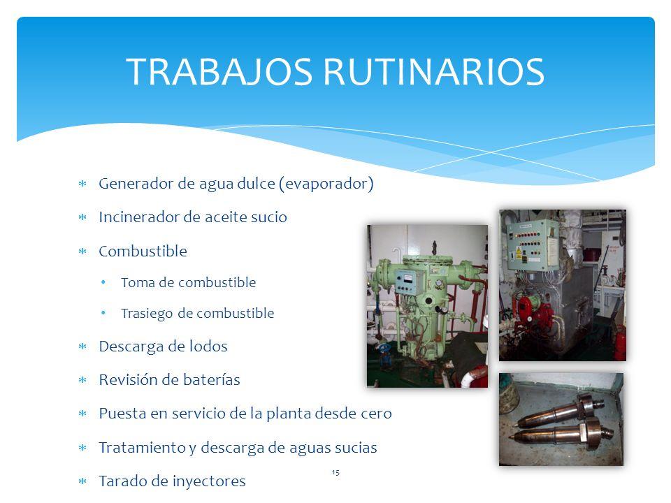Generador de agua dulce (evaporador) Incinerador de aceite sucio Combustible Toma de combustible Trasiego de combustible Descarga de lodos Revisión de