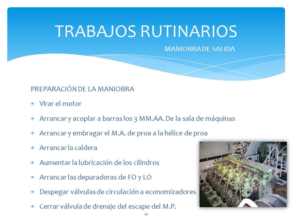 PREPARACIÓN DE LA MANIOBRA Virar el motor Arrancar y acoplar a barras los 3 MM.AA.