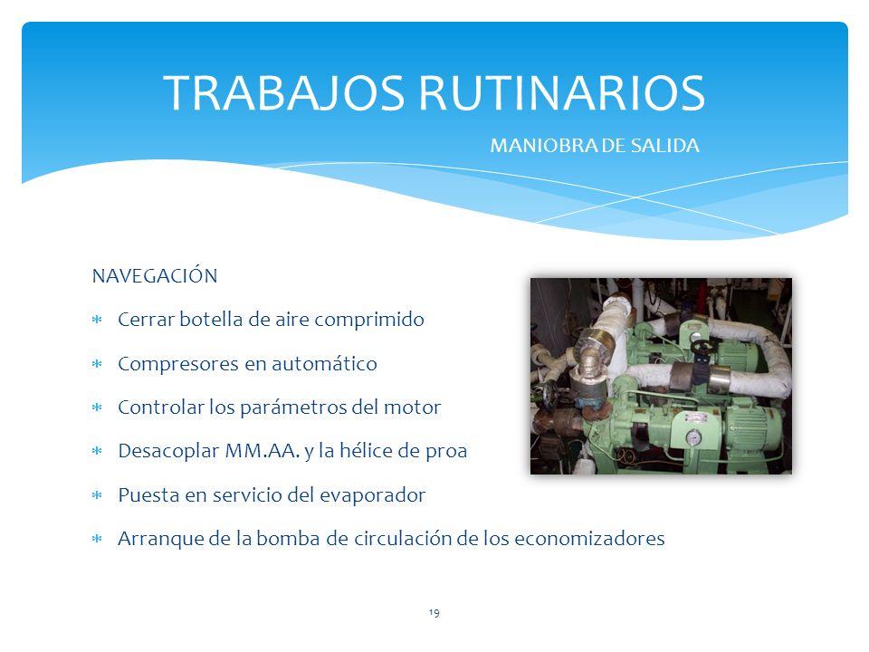 NAVEGACIÓN Cerrar botella de aire comprimido Compresores en automático Controlar los parámetros del motor Desacoplar MM.AA. y la hélice de proa Puesta