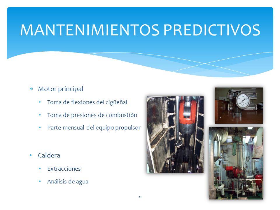 Motor principal Toma de flexiones del cigüeñal Toma de presiones de combustión Parte mensual del equipo propulsor Caldera Extracciones Análisis de agua MANTENIMIENTOS PREDICTIVOS 21