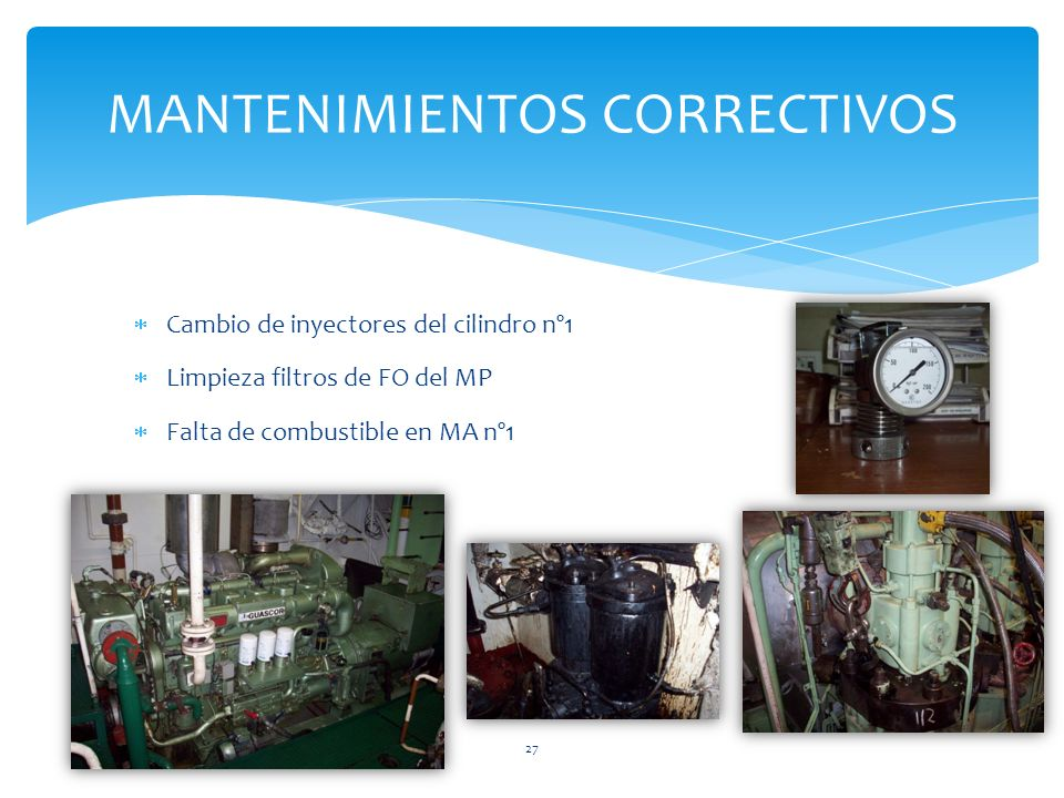 Cambio de inyectores del cilindro nº1 Limpieza filtros de FO del MP Falta de combustible en MA nº1 MANTENIMIENTOS CORRECTIVOS 27