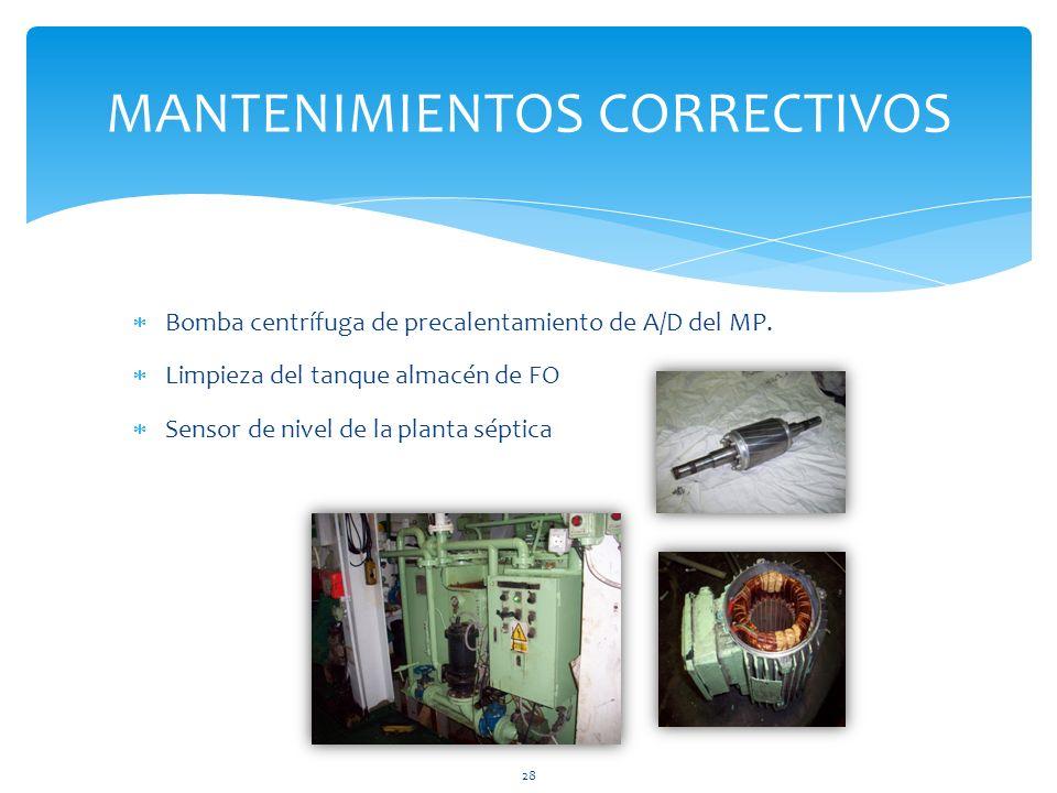 Bomba centrífuga de precalentamiento de A/D del MP. Limpieza del tanque almacén de FO Sensor de nivel de la planta séptica MANTENIMIENTOS CORRECTIVOS