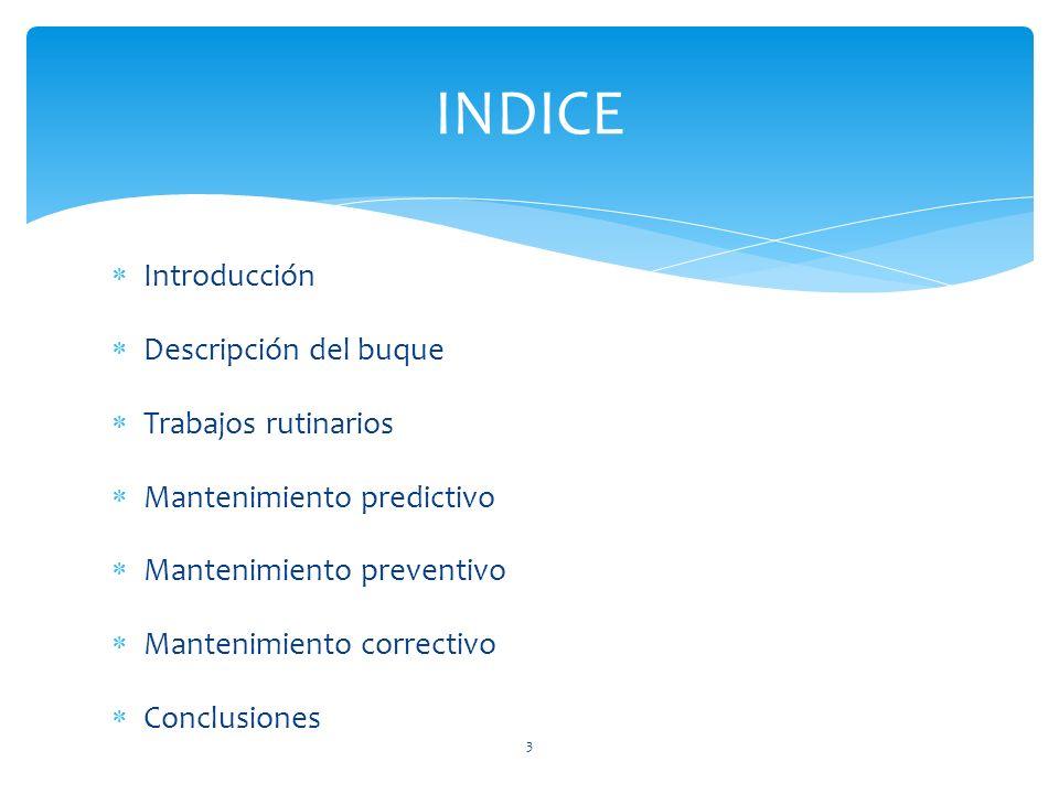 Introducción Descripción del buque Trabajos rutinarios Mantenimiento predictivo Mantenimiento preventivo Mantenimiento correctivo Conclusiones INDICE