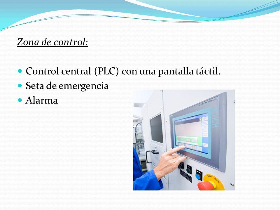 Zona de control: Control central (PLC) con una pantalla táctil. Seta de emergencia Alarma
