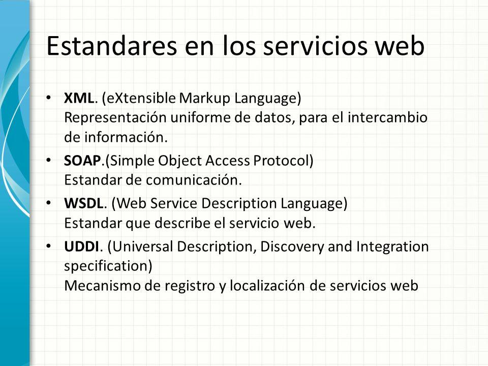 Estandares en los servicios web XML. (eXtensible Markup Language) Representación uniforme de datos, para el intercambio de información. SOAP.(Simple O