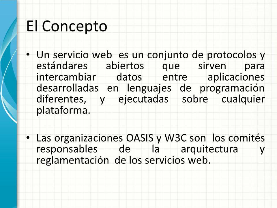 El Concepto Un servicio web es un conjunto de protocolos y estándares abiertos que sirven para intercambiar datos entre aplicaciones desarrolladas en