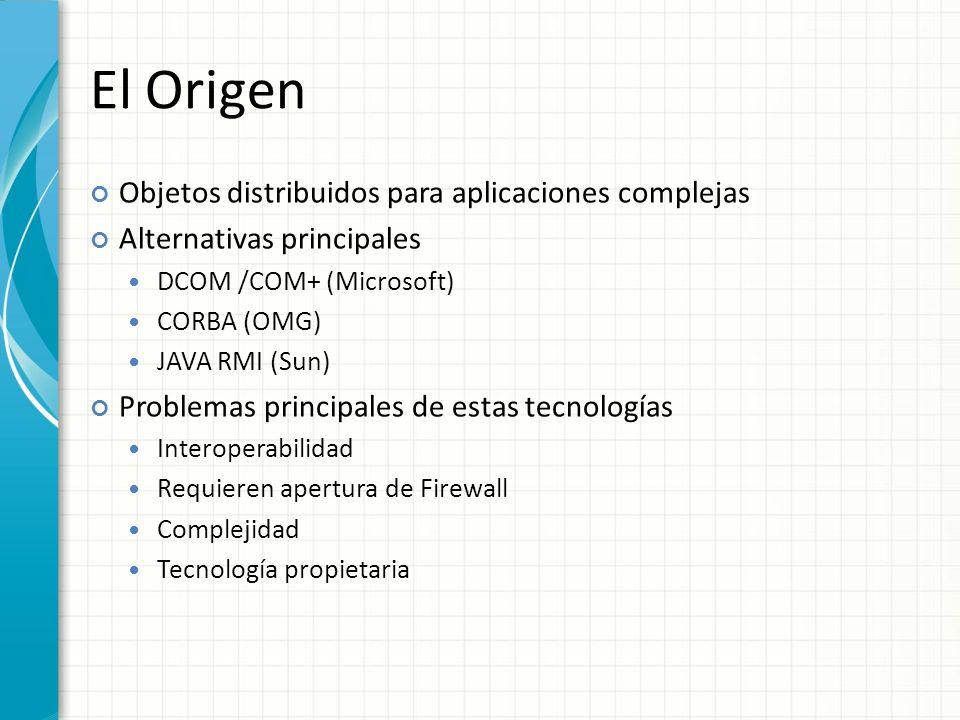El Origen Objetos distribuidos para aplicaciones complejas Alternativas principales DCOM /COM+ (Microsoft) CORBA (OMG) JAVA RMI (Sun) Problemas principales de estas tecnologías Interoperabilidad Requieren apertura de Firewall Complejidad Tecnología propietaria