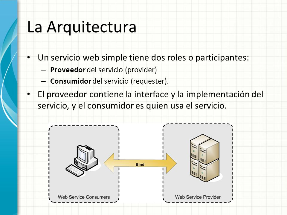 La Arquitectura Un servicio web simple tiene dos roles o participantes: – Proveedor del servicio (provider) – Consumidor del servicio (requester). El