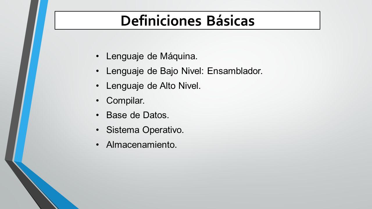 Definiciones Básicas Lenguaje de Máquina.Lenguaje de Bajo Nivel: Ensamblador.