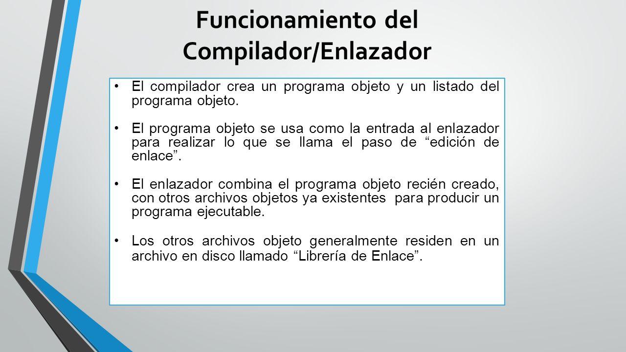 Funcionamiento del Compilador/Enlazador El compilador crea un programa objeto y un listado del programa objeto.