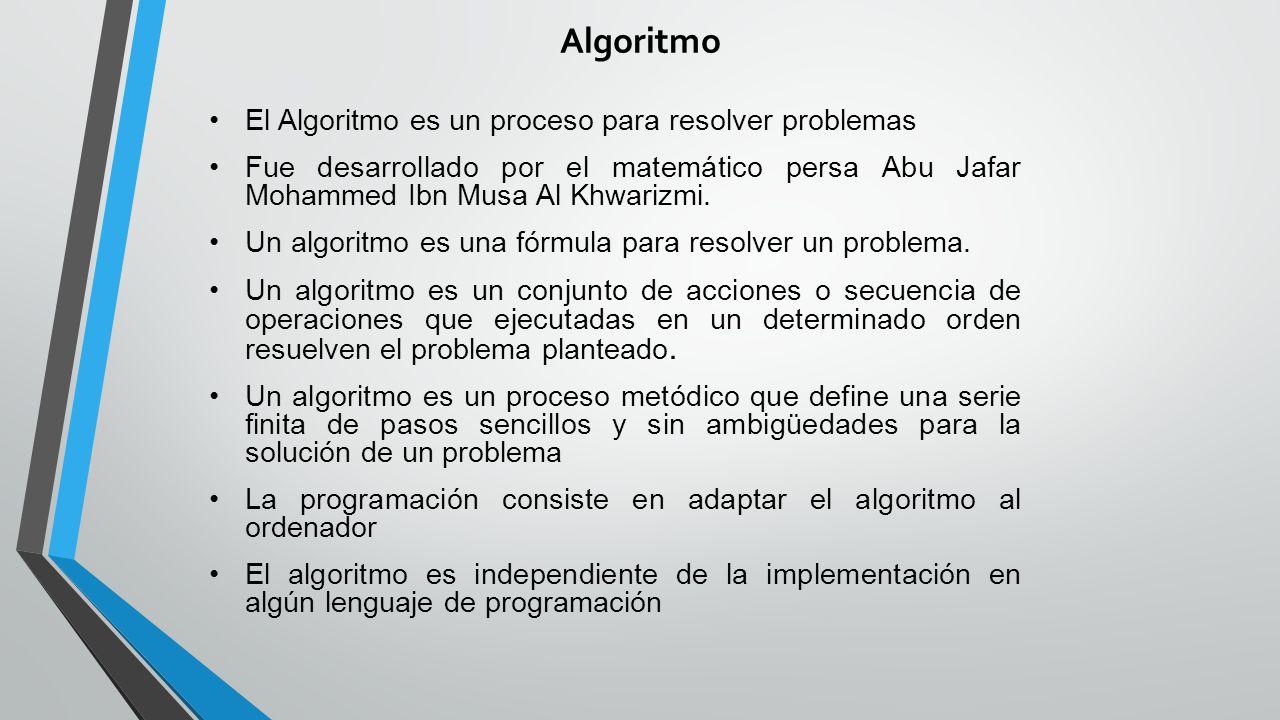 Algoritmo El Algoritmo es un proceso para resolver problemas Fue desarrollado por el matemático persa Abu Jafar Mohammed Ibn Musa Al Khwarizmi.