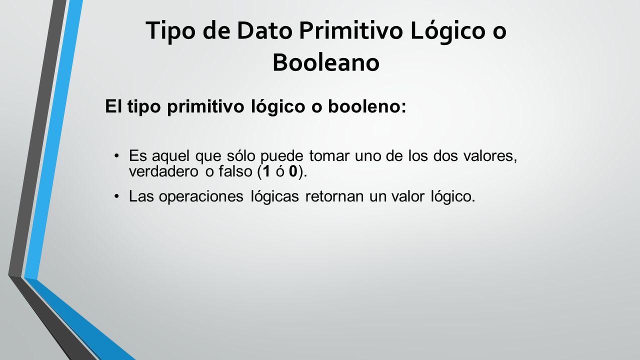 Tipo de Dato Primitivo Lógico o Booleano El tipo primitivo lógico o booleno: Es aquel que sólo puede tomar uno de los dos valores, verdadero o falso (1 ó 0).