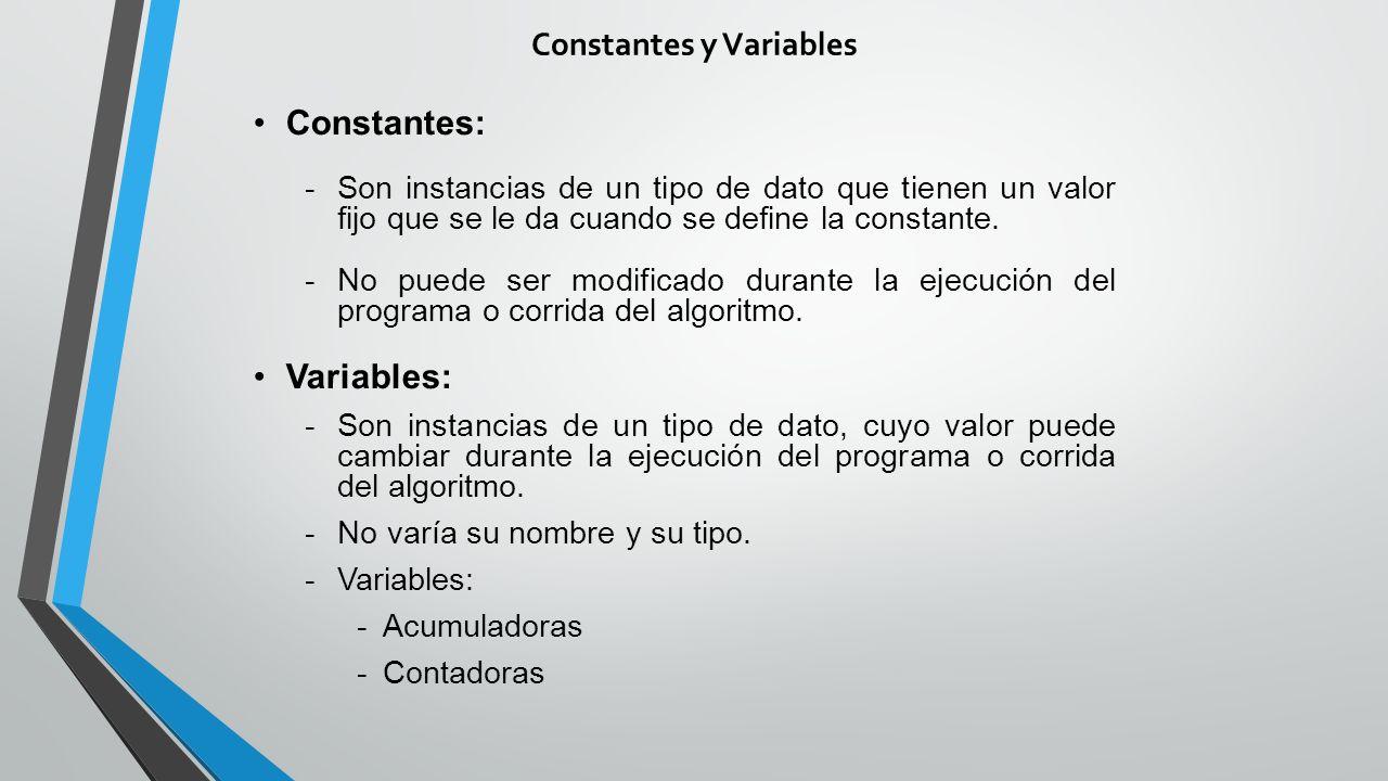 Constantes y Variables Constantes: -Son instancias de un tipo de dato que tienen un valor fijo que se le da cuando se define la constante.