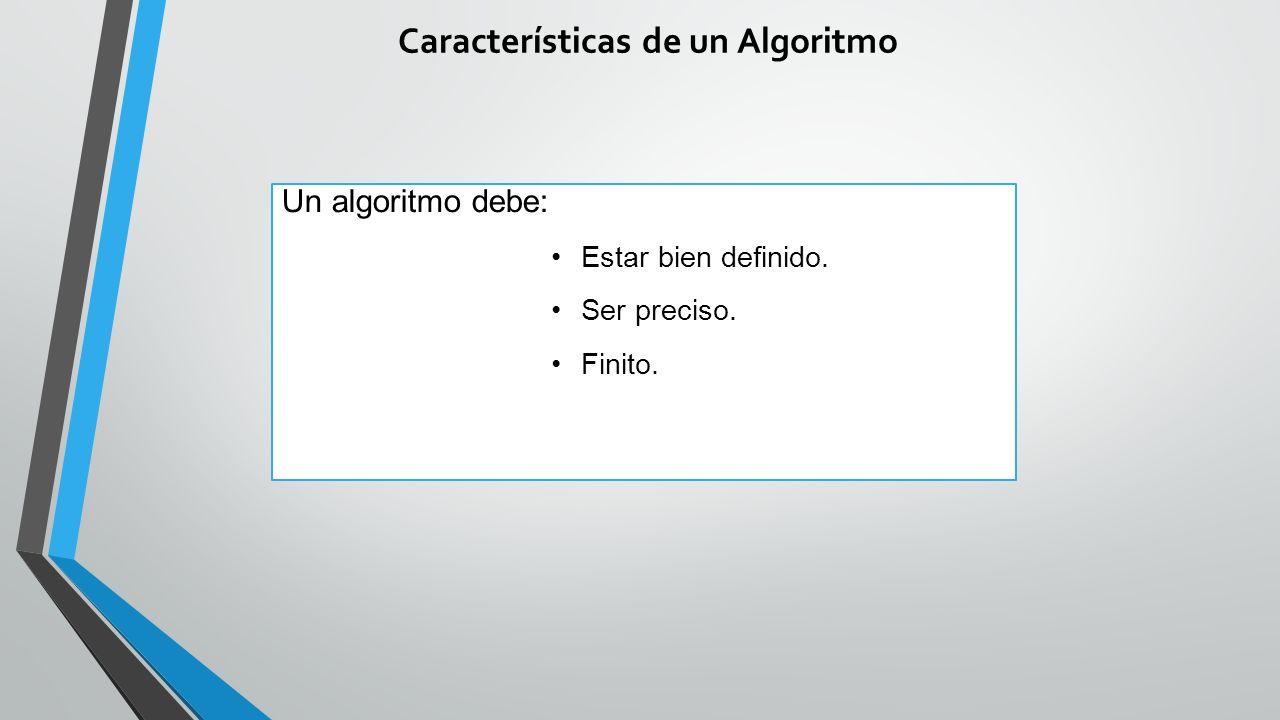 Características de un Algoritmo Un algoritmo debe: Estar bien definido. Ser preciso. Finito.