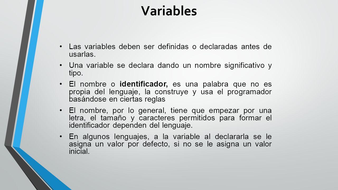 Variables Las variables deben ser definidas o declaradas antes de usarlas.