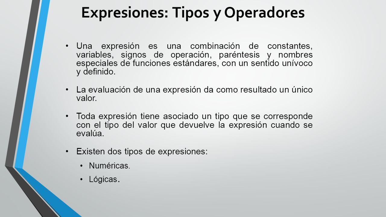 Expresiones: Tipos y Operadores Una expresión es una combinación de constantes, variables, signos de operación, paréntesis y nombres especiales de funciones estándares, con un sentido unívoco y definido.