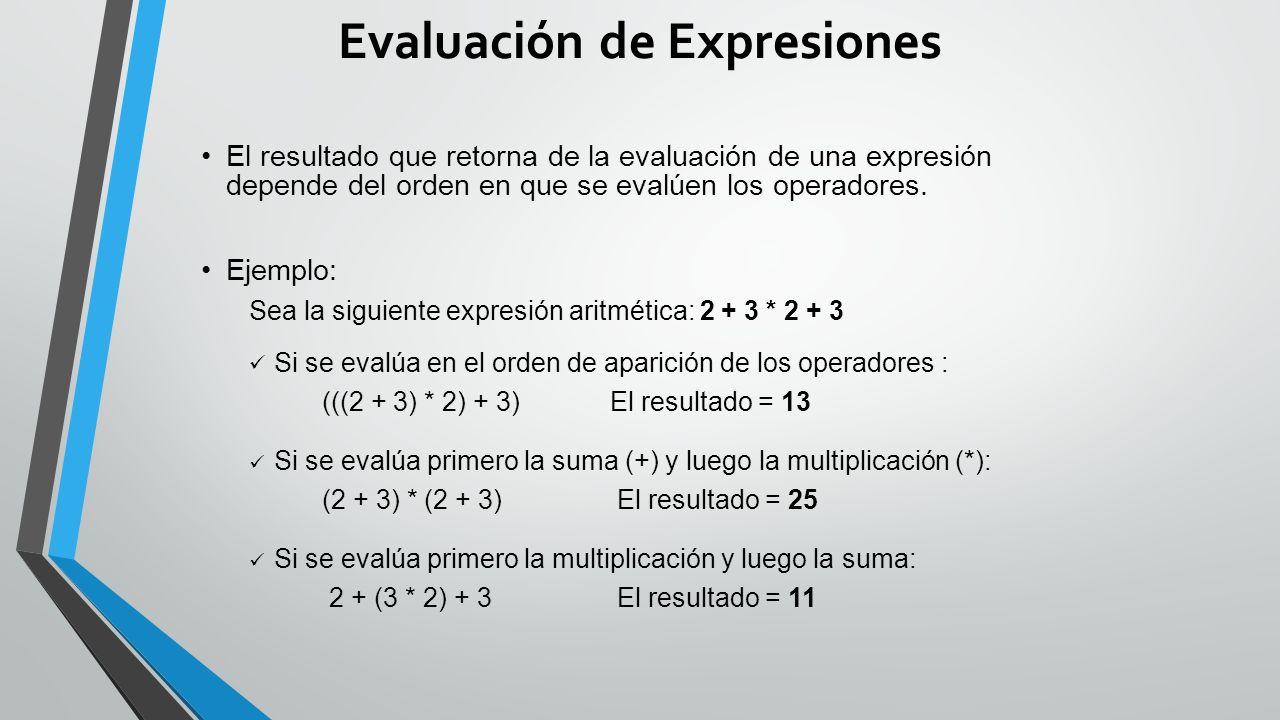 Evaluación de Expresiones El resultado que retorna de la evaluación de una expresión depende del orden en que se evalúen los operadores.