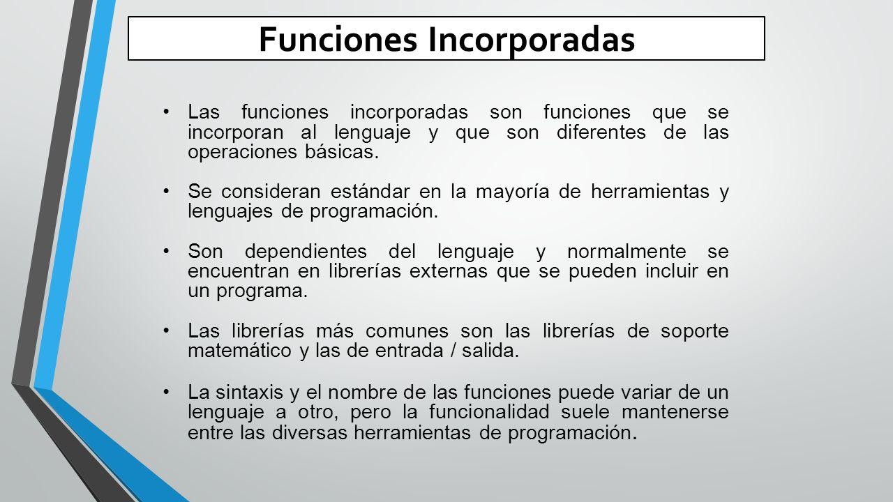 Funciones Incorporadas Las funciones incorporadas son funciones que se incorporan al lenguaje y que son diferentes de las operaciones básicas.