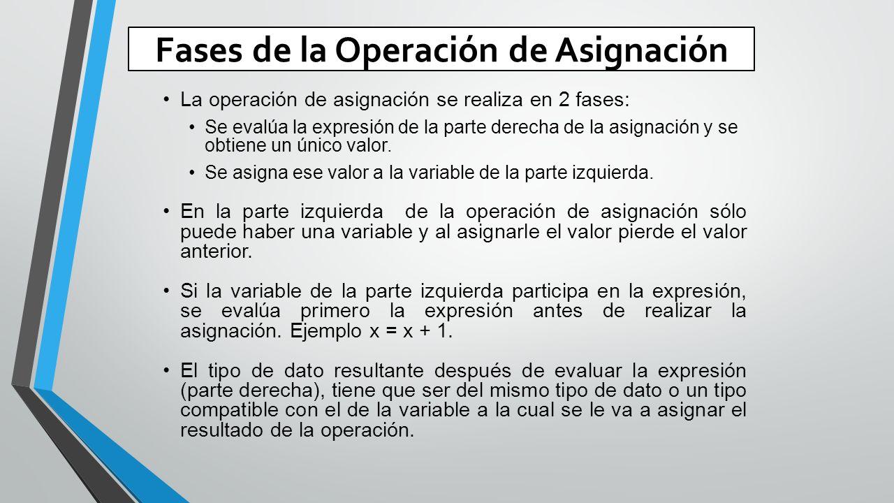 Fases de la Operación de Asignación La operación de asignación se realiza en 2 fases: Se evalúa la expresión de la parte derecha de la asignación y se obtiene un único valor.