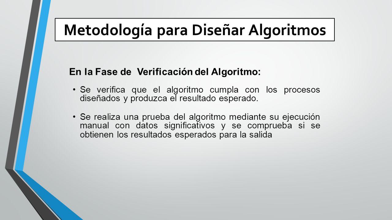 Metodología para Diseñar Algoritmos En la Fase de Verificación del Algoritmo: Se verifica que el algoritmo cumpla con los procesos diseñados y produzca el resultado esperado.