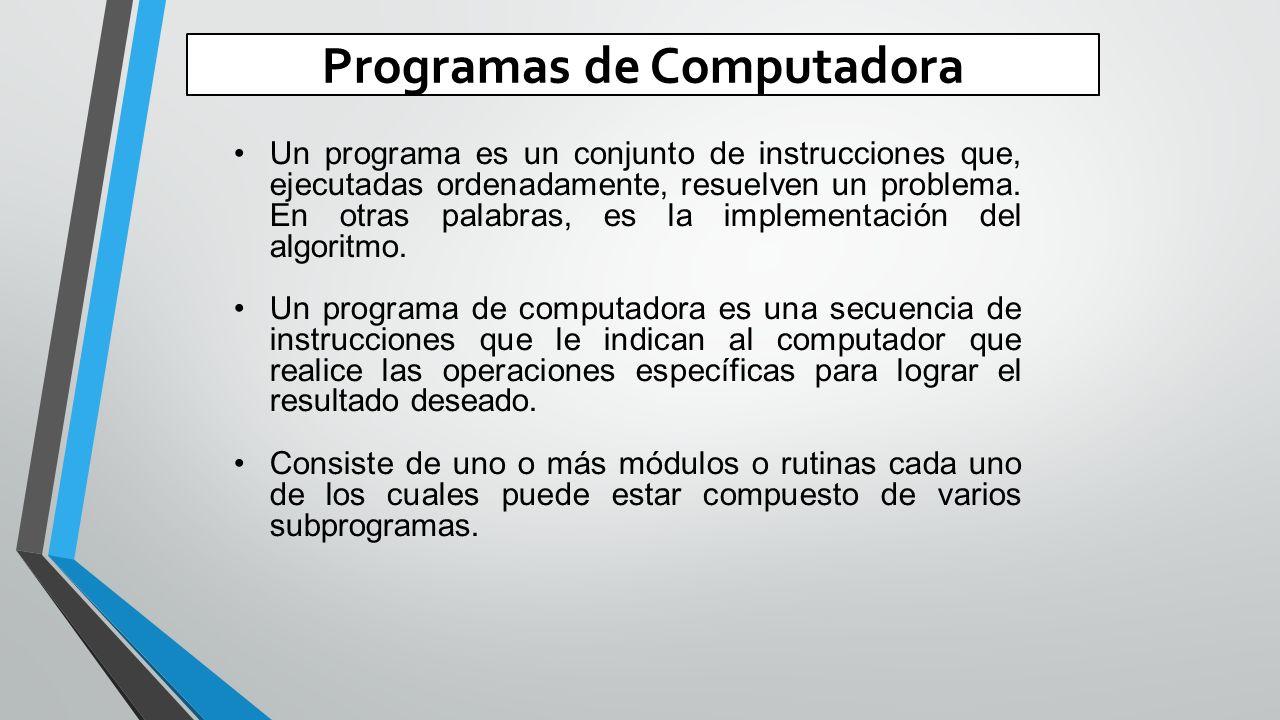 Programas de Computadora Un programa es un conjunto de instrucciones que, ejecutadas ordenadamente, resuelven un problema.