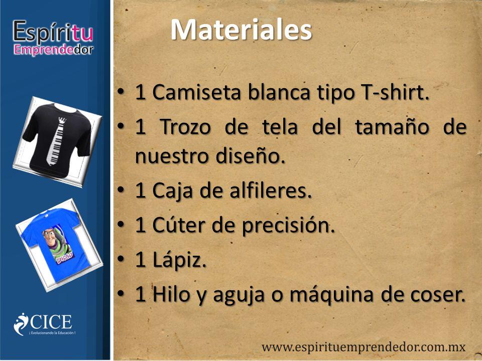 Materiales 1 Camiseta blanca tipo T-shirt. 1 Camiseta blanca tipo T-shirt.