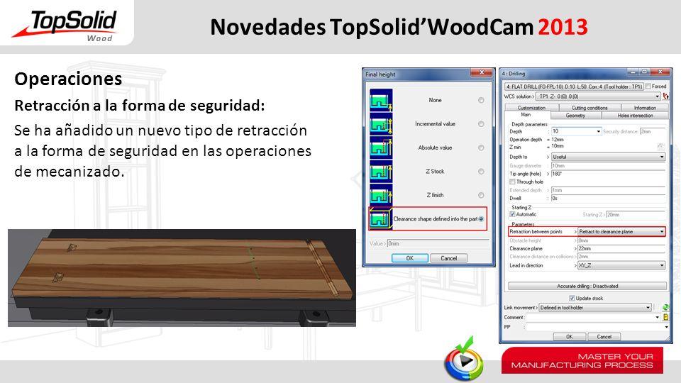 Novedades TopSolidWoodCam 2013 Operaciones Retracción a la forma de seguridad: Se ha añadido un nuevo tipo de retracción a la forma de seguridad en la