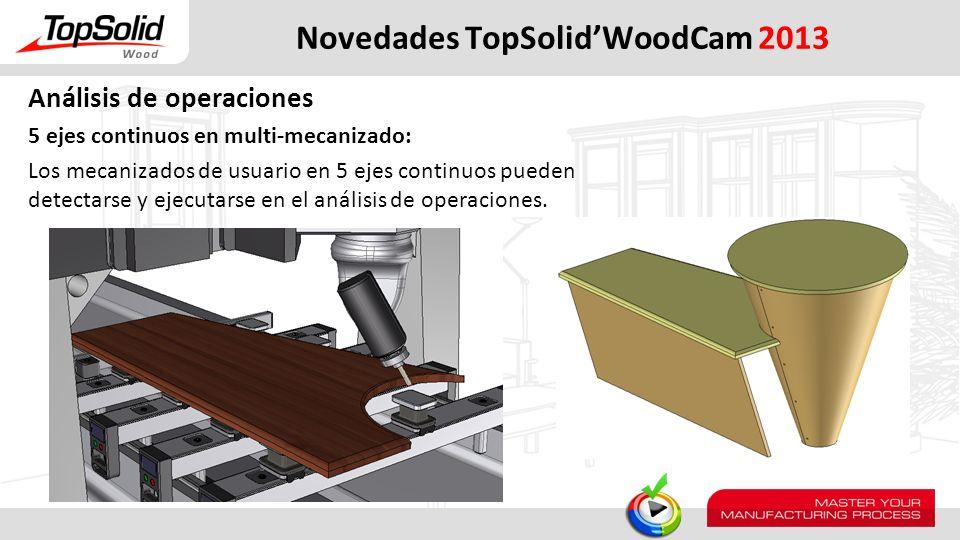 Novedades TopSolidWoodCam 2013 Análisis de operaciones 5 ejes continuos en multi-mecanizado: Los mecanizados de usuario en 5 ejes continuos pueden det