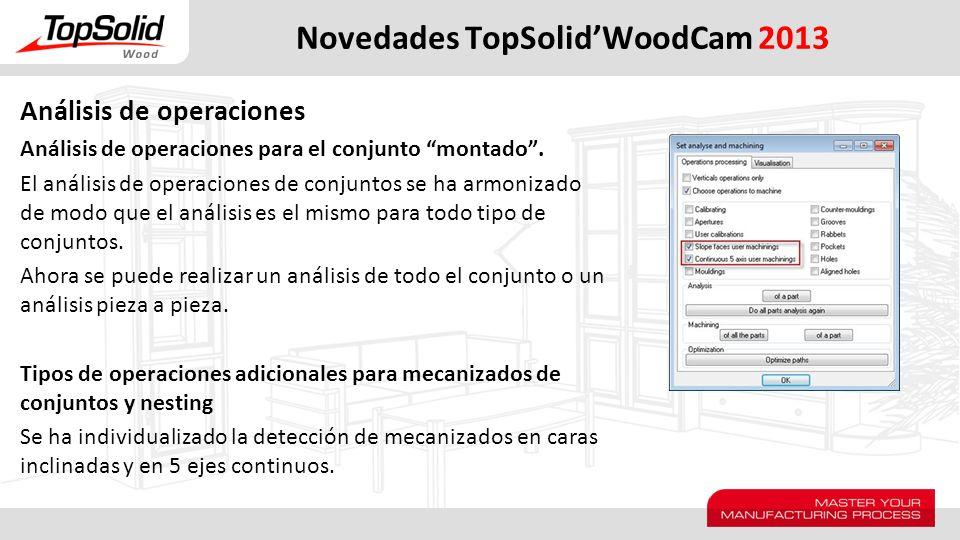 Novedades TopSolidWoodCam 2013 Análisis de operaciones Análisis de operaciones para el conjunto montado. El análisis de operaciones de conjuntos se ha