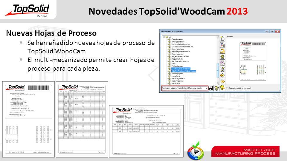 Novedades TopSolidWoodCam 2013 Nuevas Hojas de Proceso Se han añadido nuevas hojas de proceso de TopSolid'WoodCam El multi-mecanizado permite crear ho