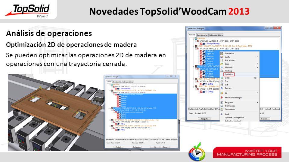 Novedades TopSolidWoodCam 2013 Análisis de operaciones Optimización 2D de operaciones de madera Se pueden optimizar las operaciones 2D de madera en op