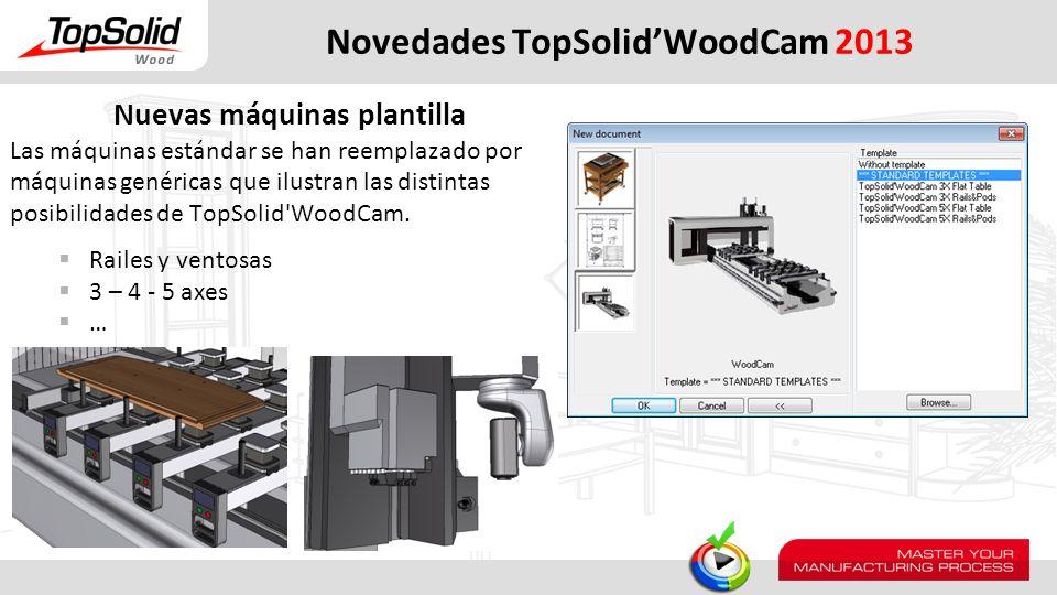 Nuevas máquinas plantilla Las máquinas estándar se han reemplazado por máquinas genéricas que ilustran las distintas posibilidades de TopSolid'WoodCam