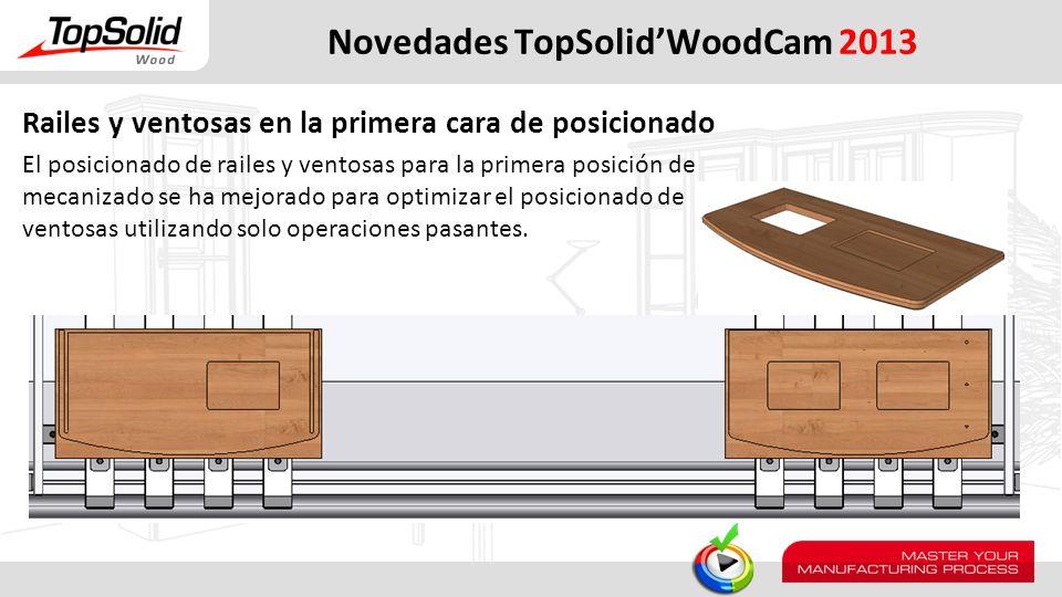 Novedades TopSolidWoodCam 2013 Railes y ventosas en la primera cara de posicionado El posicionado de railes y ventosas para la primera posición de mec