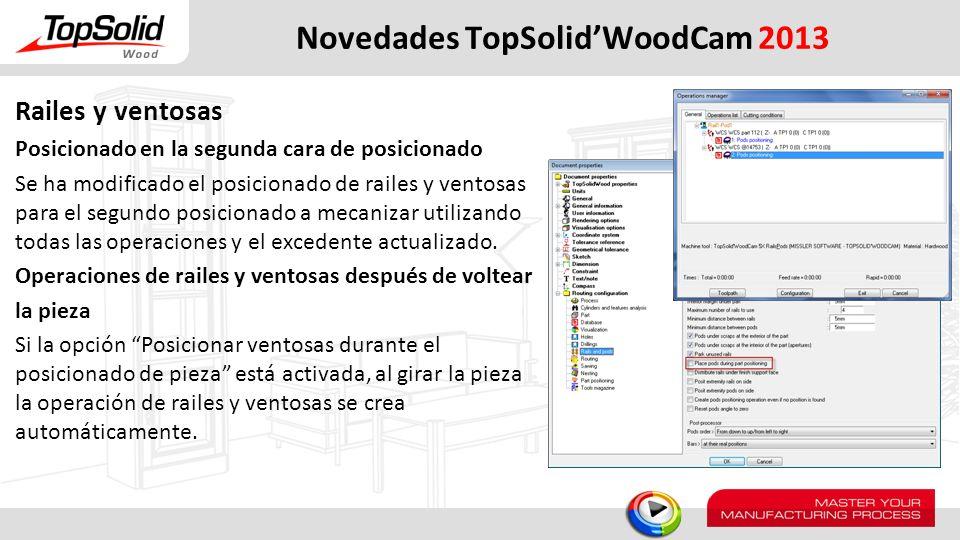 Novedades TopSolidWoodCam 2013 Railes y ventosas Posicionado en la segunda cara de posicionado Se ha modificado el posicionado de railes y ventosas pa