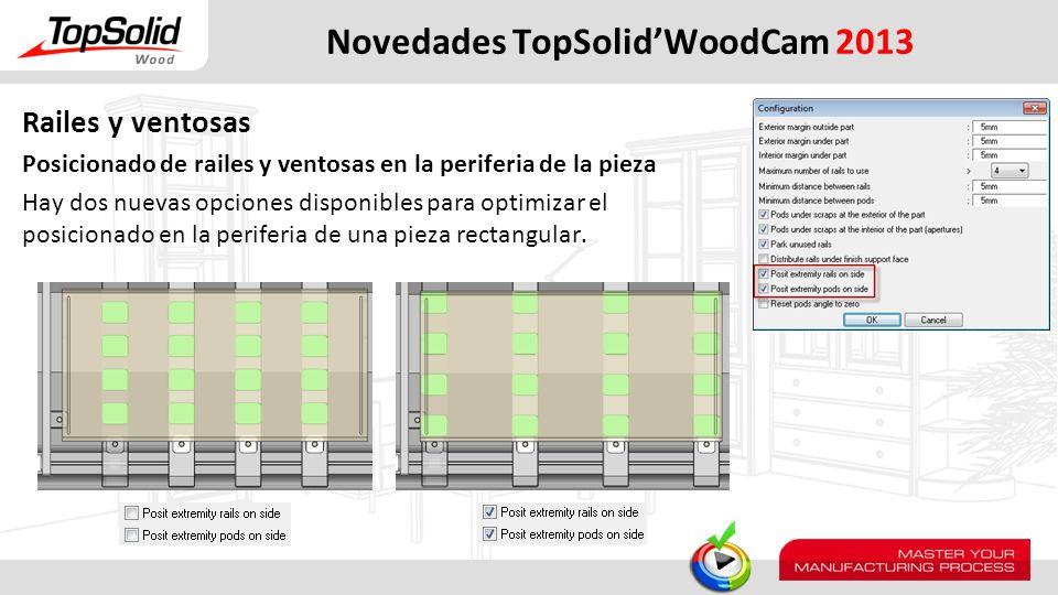 Novedades TopSolidWoodCam 2013 Railes y ventosas Posicionado de railes y ventosas en la periferia de la pieza Hay dos nuevas opciones disponibles para