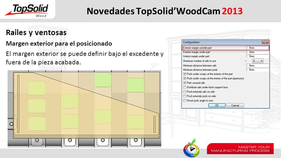 Novedades TopSolidWoodCam 2013 Railes y ventosas Margen exterior para el posicionado El margen exterior se puede definir bajo el excedente y fuera de