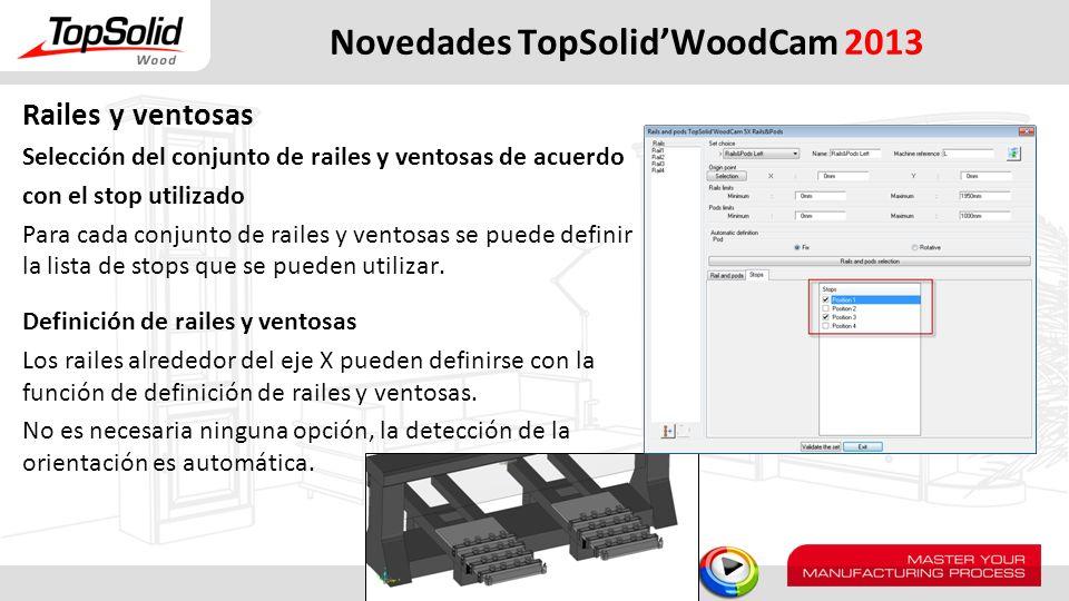 Novedades TopSolidWoodCam 2013 Railes y ventosas Selección del conjunto de railes y ventosas de acuerdo con el stop utilizado Para cada conjunto de ra