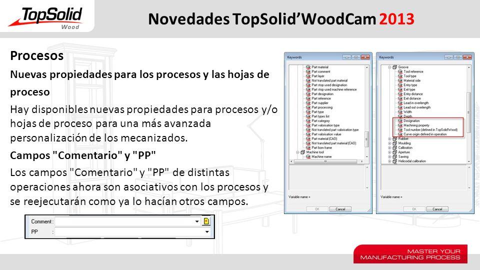 Novedades TopSolidWoodCam 2013 Procesos Nuevas propiedades para los procesos y las hojas de proceso Hay disponibles nuevas propiedades para procesos y