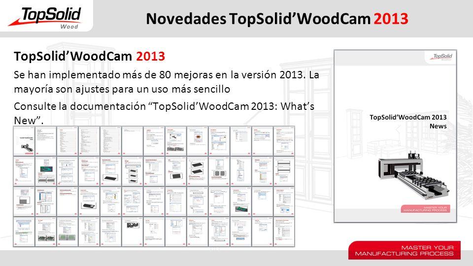 Novedades TopSolidWoodCam 2013 TopSolidWoodCam 2013 Se han implementado más de 80 mejoras en la versión 2013. La mayoría son ajustes para un uso más s