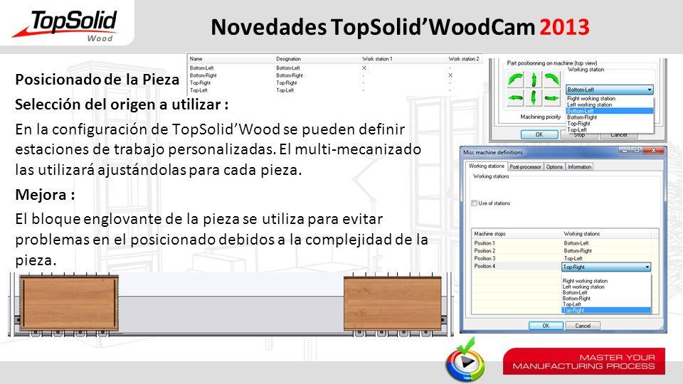 Novedades TopSolidWoodCam 2013 Posicionado de la Pieza Selección del origen a utilizar : En la configuración de TopSolidWood se pueden definir estacio