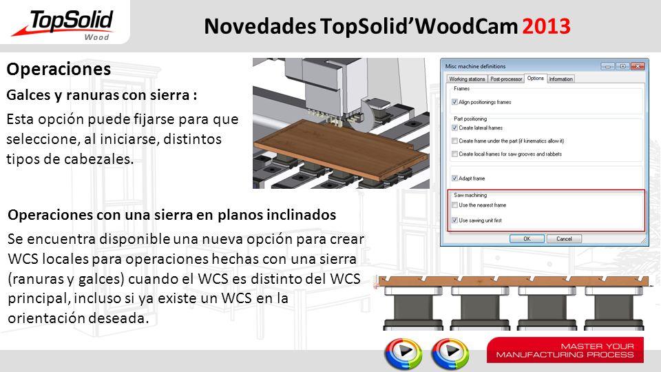 Novedades TopSolidWoodCam 2013 Operaciones Galces y ranuras con sierra : Esta opción puede fijarse para que seleccione, al iniciarse, distintos tipos