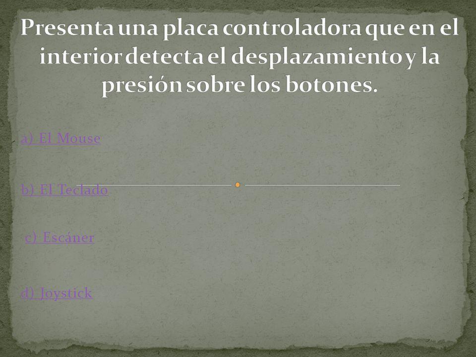 a) El Mouse b) El Teclado c) Escáner d) Joystick