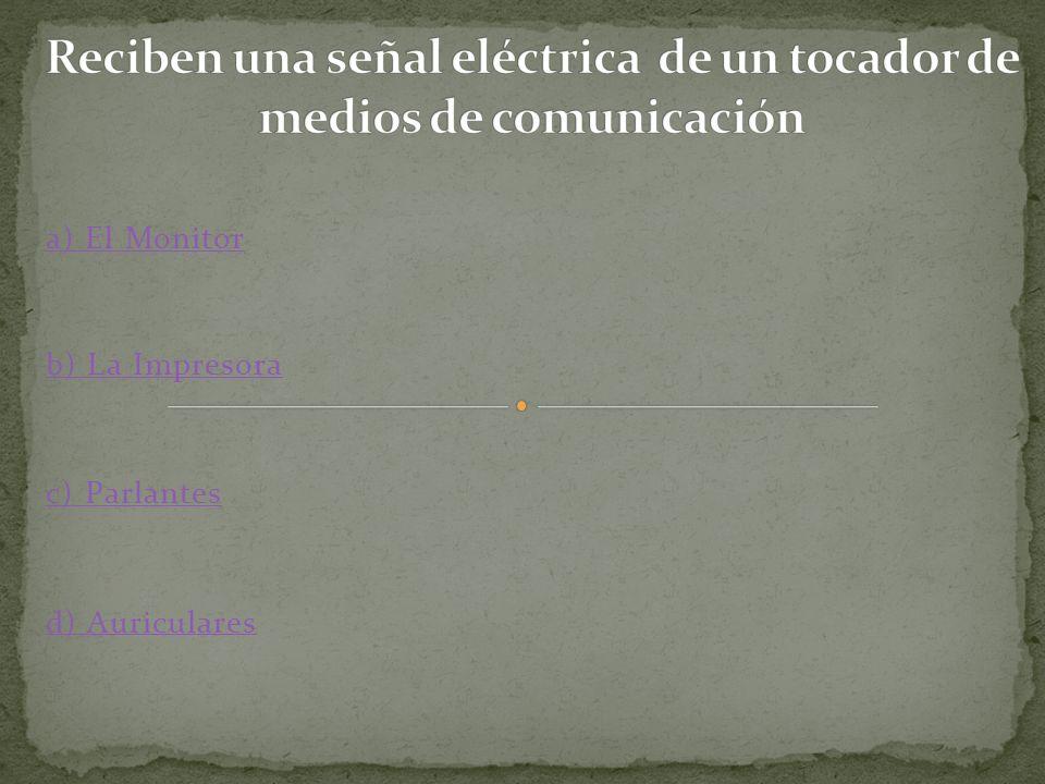 a) El Monitor b) La Impresora c) Parlantes d) Auriculares
