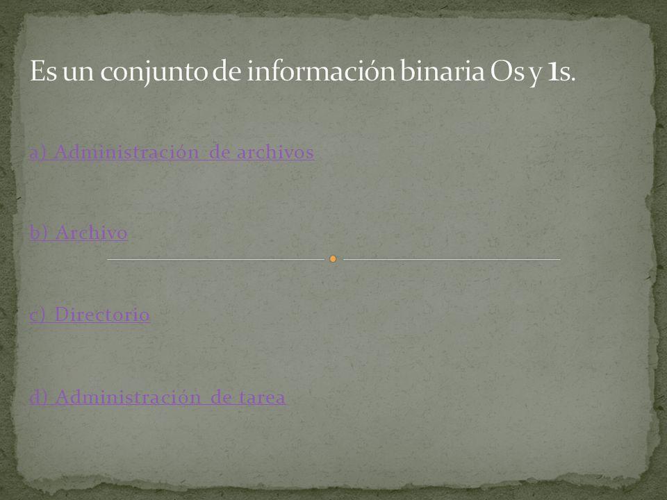 a) Interfaz gráfica de usuario b) Administración de memoria c) Sistema Operativo d) Administración de recursos