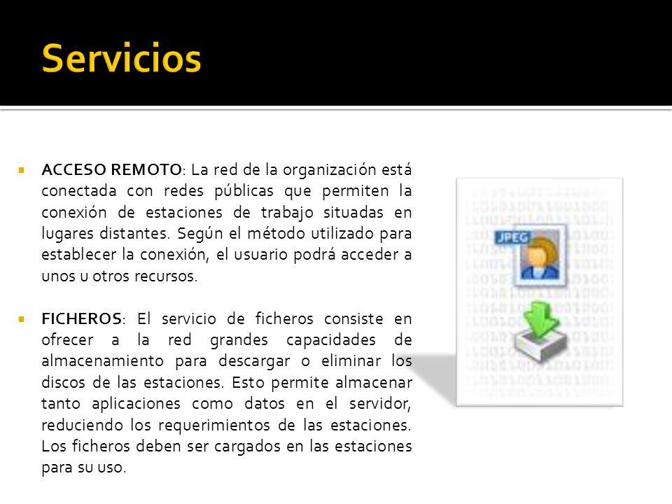 ACCESO REMOTO: La red de la organización está conectada con redes públicas que permiten la conexión de estaciones de trabajo situadas en lugares dista