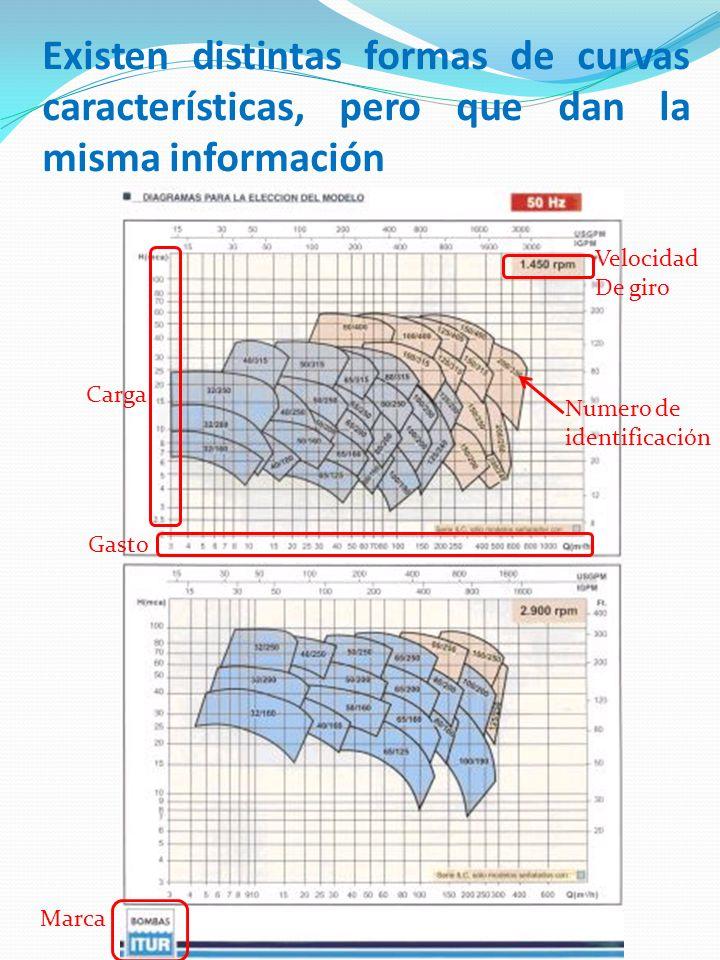 Existen distintas formas de curvas características, pero que dan la misma información Marca Gasto Carga Velocidad De giro Numero de identificación