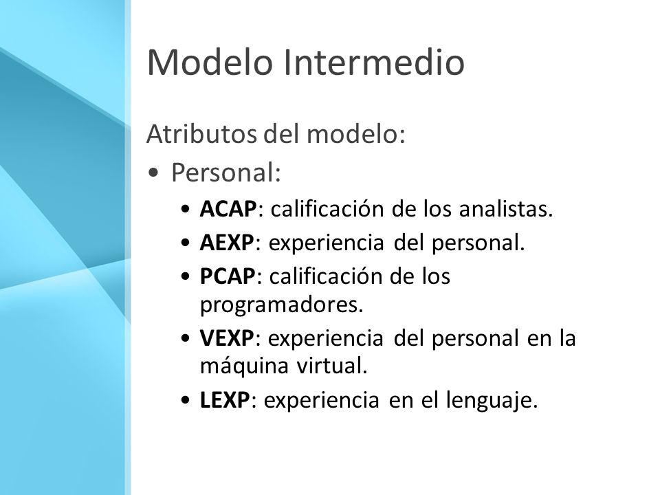 Modelo Intermedio Atributos del modelo: Personal: ACAP: calificación de los analistas. AEXP: experiencia del personal. PCAP: calificación de los progr