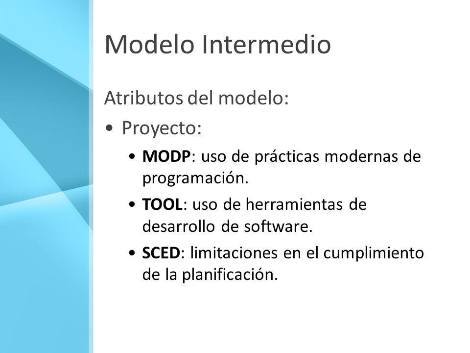 Modelo Intermedio Atributos del modelo: Proyecto: MODP: uso de prácticas modernas de programación. TOOL: uso de herramientas de desarrollo de software