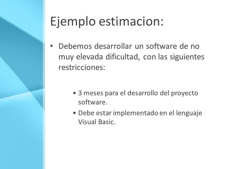 Ejemplo estimacion: Debemos desarrollar un software de no muy elevada dificultad, con las siguientes restricciones: 3 meses para el desarrollo del pro