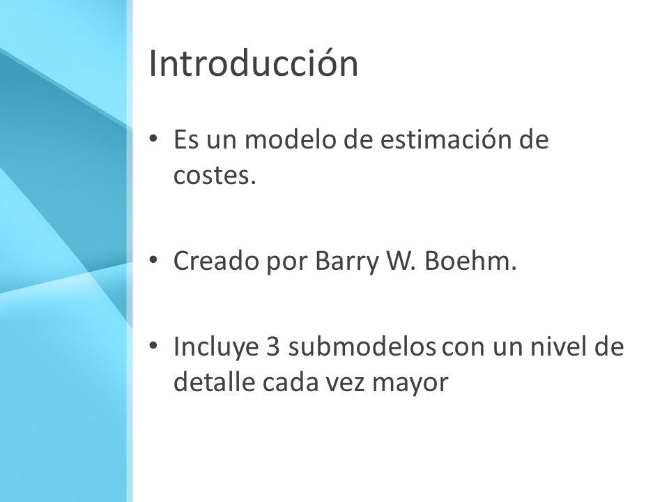 Introducción Es un modelo de estimación de costes. Creado por Barry W. Boehm. Incluye 3 submodelos con un nivel de detalle cada vez mayor